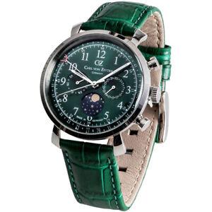 Carl-von-Zeyten-CVZ0015GR-Urach-silber-gruen-Leder-Armband-Uhr-Herren-NEU