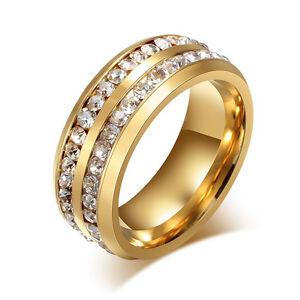 18K-plaque-or-titane-acier-mariage-CZ-Band-Men-Women-039-s-Party-Ring-Taille-5-13