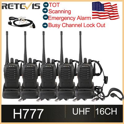 5XRetevis H777 Walkie Talkie 16CH CTCSS//DCS UHF 5W 2-Way Radio+Earpiece US LOCAL