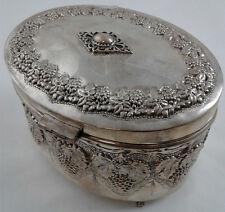 Esrog Pushke Etrog Box - Sterling Silver 925 - Grape Leaf Design - weighs 302 gr