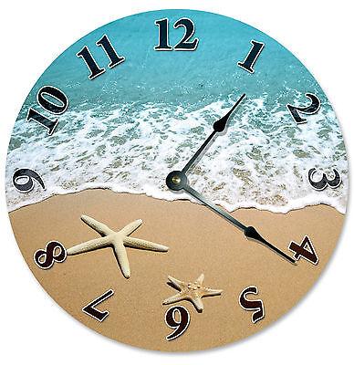 Starfish At Shoreline Beach Clock Large 10 5 Inch Wall