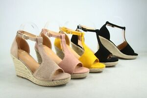 NEW Women's Espadrille Ankle Strap Buckle Wedge Sandals Shoes Size 5 - 11