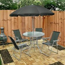 garden patio furniture set 4 seater dining set parasol glass table and chairs - Garden Furniture 4 Seater Sets
