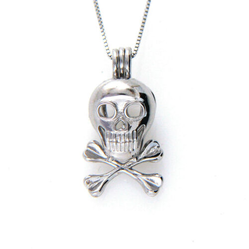 """925 Sterling Silver Skull Head Cage Pendant Pearl Necklace 16/""""-24/"""" Chain Gothic"""