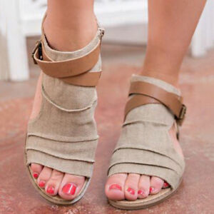 US-Women-Summer-Beach-Flat-Sandals-Ladies-Open-Toe-Canvas-Gladiator-Shoes-Size-9