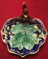Antique Squirrel Nut Chestnut Leaf Majolica Bowl Dish Style Of George Jones