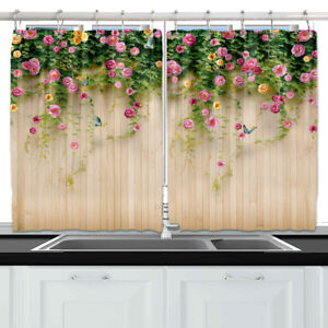 Pink-Rose-Flower-Fence-Wall-Kitchen-Curtains-Window-Drapes-2-Panels-Set-55-39-034
