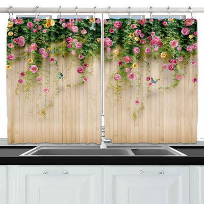 Pink Rose Flower Fence Wall Kitchen Curtains Window Drapes 2 Panels Set 55 39 Ebay