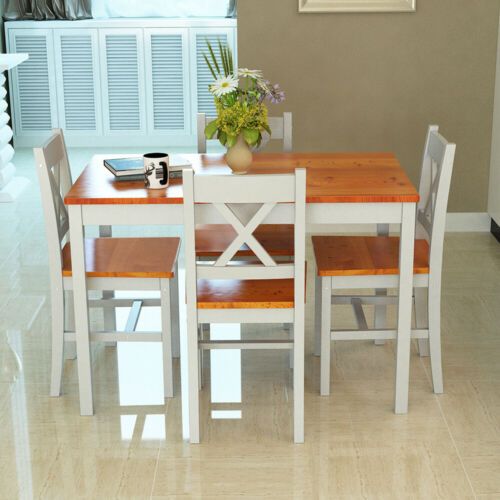 4 Colors Solid Wooden Dining table and 2 4 chairs Set Home Kitchen Furniture