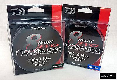 various sizes DARK GREEN Daiwa Tournament 8 Braid Evo 300m