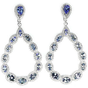 BIG-58X30-MM-NATURAL-AAA-BLUE-TANZANITE-amp-WHITE-CZ-STERLING-925-SILVER-EARRING