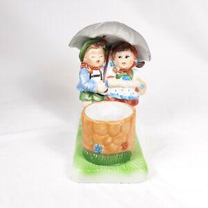 Children Under Umbrella Wishing Well Candle Holder Small Planter Ceramic
