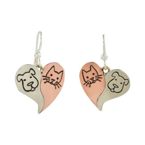 Far Fetched Jewelry DOG CAT HEART Earrings EP-257 Silver Copper Fair Trade