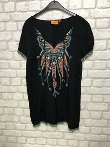 APRICOT-LADIES-TOP-SIZE-S-BLACK-EMBROIDERED-LONG-TOP-BOHO-CHIC