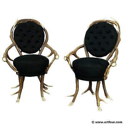 Adaptable Pair Of Rare Antler Parlor Chairs, French Ca. 1860 Orders Are Welcome.