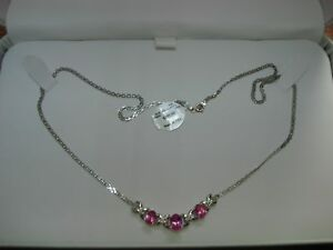 BEAUTIFUL-10K-WHITE-GOLD-APPROX-1-8-CTW-PINK-amp-CLEAR-TOPAZ-NECKLACE-NEW-W-TAGS