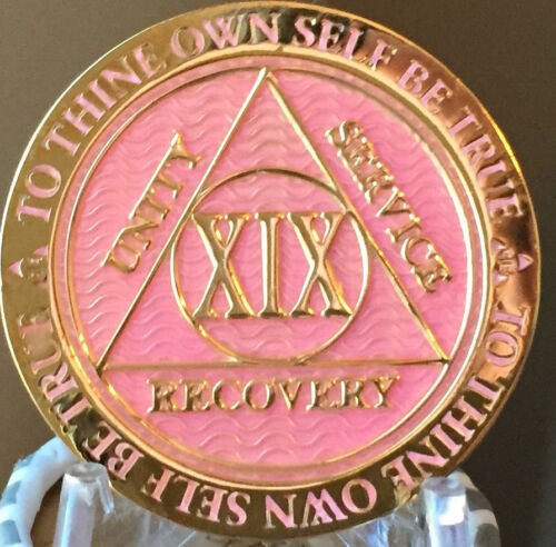 19 Year AA Medallion Pink Gold Plated Alcoholics Anonymous Sobriety Chip Coin