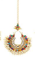 Indian Ethnic Bollywood Pearl Beads Multi Forehead Maang Tikka Wedding Jewlery