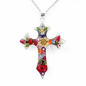 Sterling-Silver-with-Natural-Flowers-Crucifix-Crucifijo-Pendant-from-Taxco