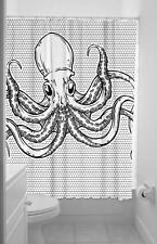 Sourpuss Octopus Black & White  Fabric Shower Curtain & Rings