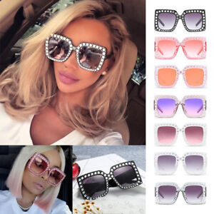 2f2fd3435d79 Image is loading New-Oversized-Square-Frame-Bling-Rhinestone-Sunglasses- Women-