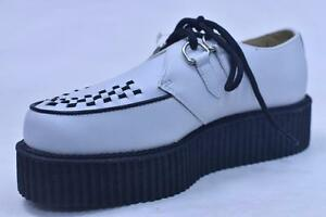 ANARCHIC-A6803-WHITE-LEATHER-2-034-CLASSIC-2-EYE-CREEPERS-UNISEX-9-11-NOS-PUNK