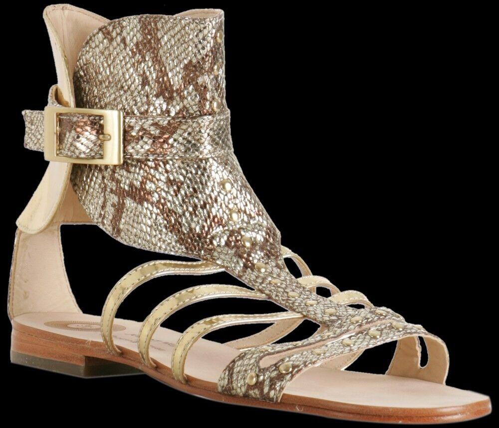 EUC gold MODERN VINTAGE Tan Fernanda Metallic Gladiator Sandals 38.5   8.5, 39 9