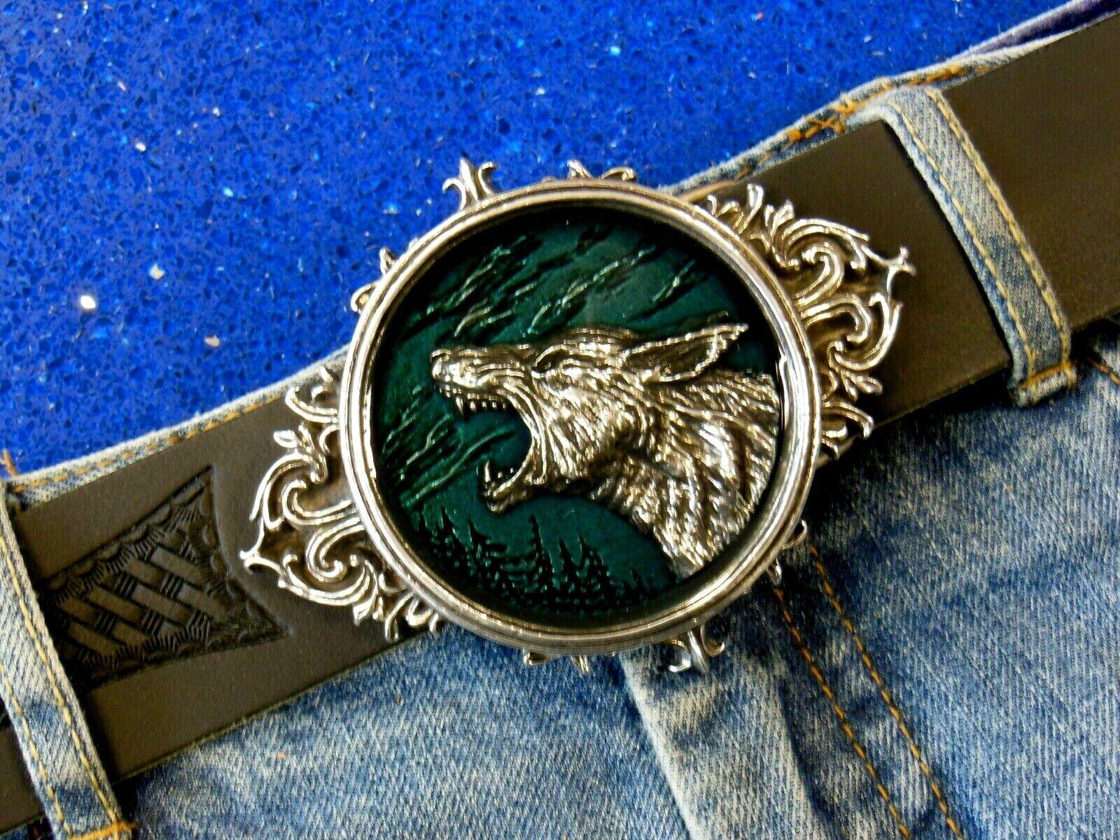 Gürtelschnalle Wolf Werwolf Alchemy Gothic Luxus Schnalle Buckle für 4cm Gürtel