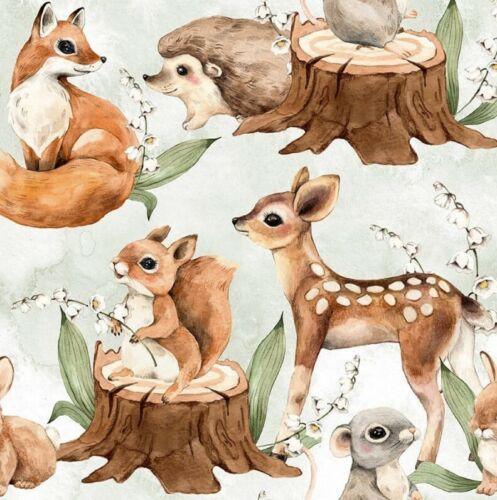 Tela premium algodón agradables bosque animales ardilla hongos ratón 1,55cm de ancho
