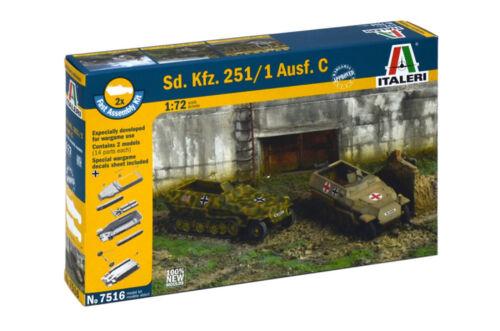 Italeri 1:72-7516 D Fast Assm 2 Stück Modellbausatz SD.Kfz.251//1 Ausf Kit
