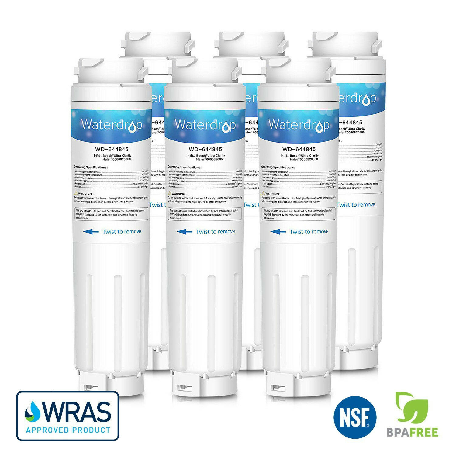 6 x Waterdrop Fridge Fridge Fridge Filter Replacement for UltraClarity BORPLFTR10, RA450010 4d618e