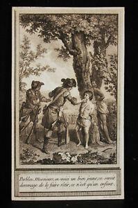 Original-Engraving-18th-Marillier-Langlois-Adventures-of-Chevalier-of-Beauchene