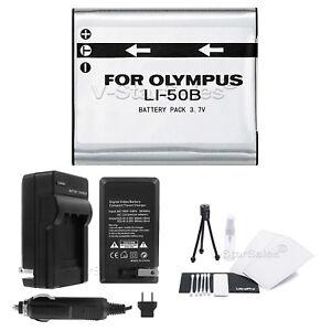 LI-50B-Akku-Ladegeraet-Bonus-fuer-Olympus-Stylus-mju-S-Hart-VR-X-Kameras