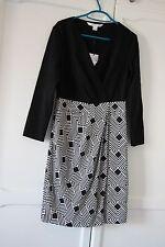 BNWT Diane Von Furstenberg Geo Print Dress Black White Gianna 6 8 XS RRP360 S