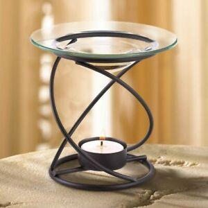 Modern Glass Spiral Metal Oil Wax Warmer Tea Light Candle Holder Ebay