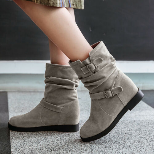 Women/'s Slouch Ankle Boots Suede Flats Heel Hidden Wedge Casual Winter Booties