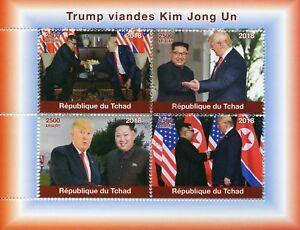 Chad-2018-CTO-DONALD-Trump-VISITE-Kim-Jong-Nazioni-Unite-Korea-4v-M-S-PRESIDENTI-DEGLI-STATI-UNITI