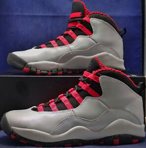 4a1b71c2a0a143 Nike Girls Air Jordan 10 X Retro Wolf Grey Legion Red Youth SZ 5.5Y ...