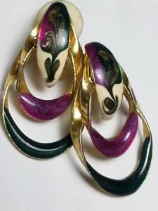 Large Gold Tone Sunburst Pierced Earrings Vintage 1980s