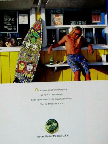 "Shake Shack Laguna Beach Ca.Surfer 1992 Perrier Original Print Ad-8.5 x 11/"""
