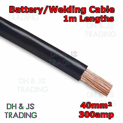 Flexible Marine Boat Automotive Wire Apprehensive 1m Black Battery Welding Cable 40mm² 300a Wire, Cable & Conduit Business & Industrial