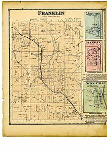 1870 Map Of Franklin Ohio With Family Names From Atlas Of