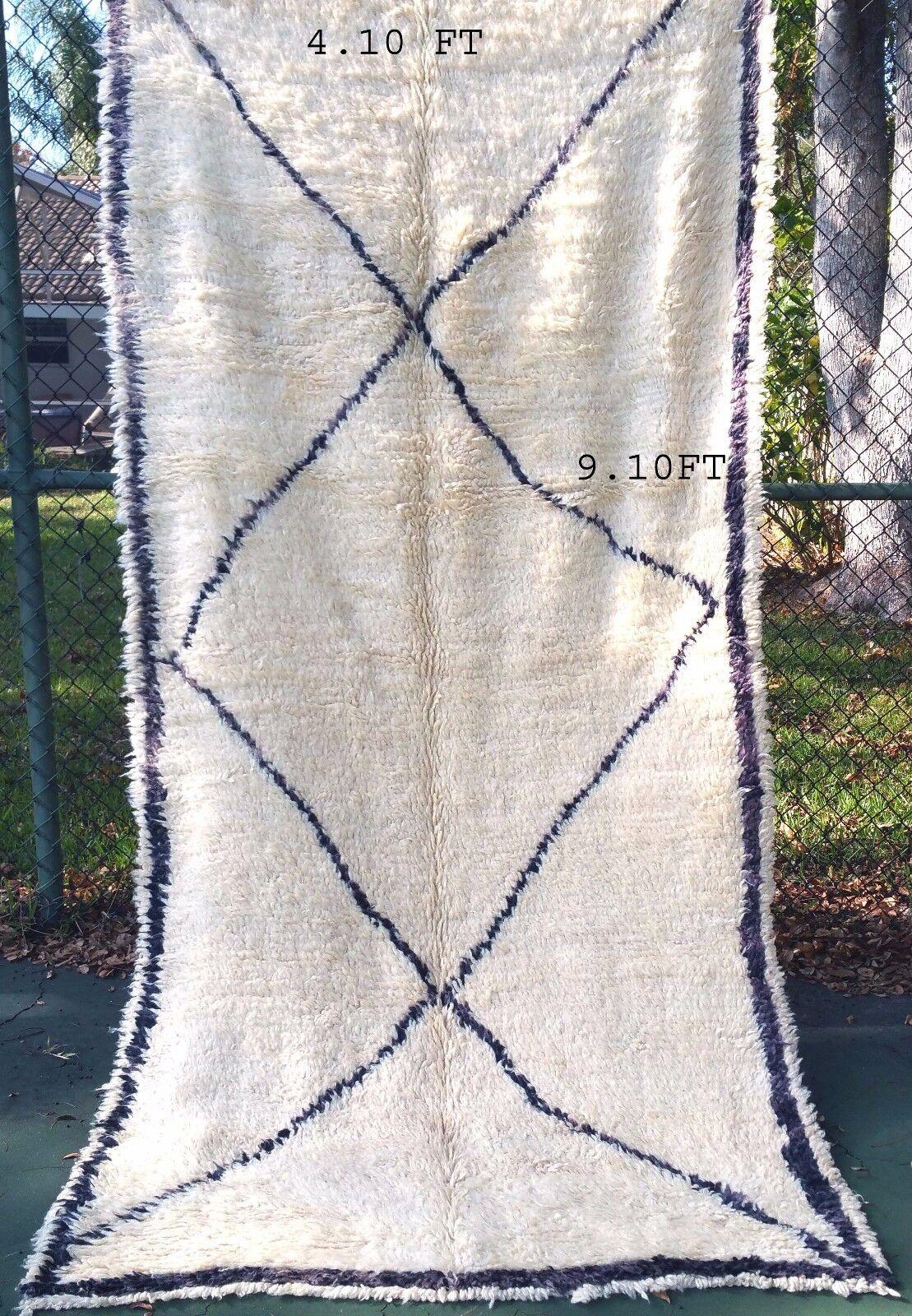 Alfombra Anudada marroquí marroquí Beni ourain rug 100% hecho a mano 4.10 Pies X 9.10 pies