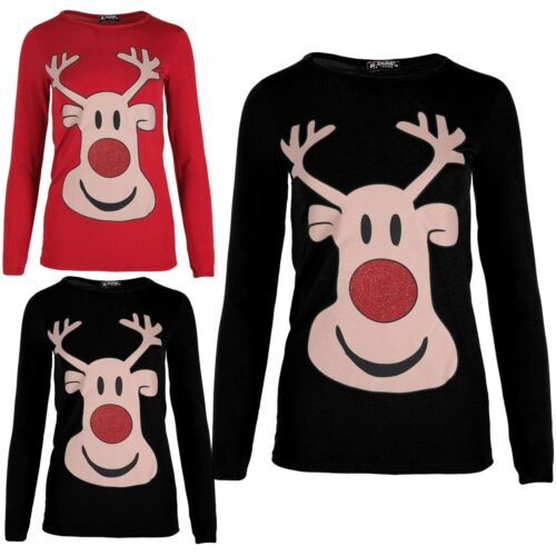 Kids Girls Glitter Nose Christmas Round Neck Reindeer Face Long Sleeve T Shirt