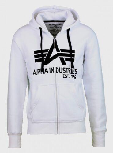 Alpha Industries Uomo Sweatjacke Big A Classic Zip White