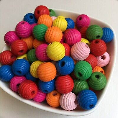 50X Oval Wooden Rice Beads 15x8mm Multi-Colour Bee-Hive Shape Wood Bead