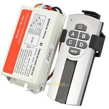 Digital Wireless Wall Switch Splitter Box + Remote Control 4 Port Way Light Lamp