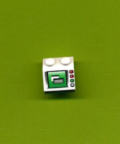 2 x 2-- Weiß Schrägstein-- Bedruckt Lego--3039px35 Bildschirm