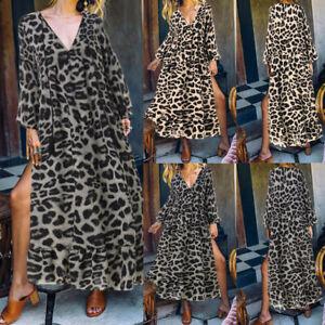 Elegant-Femme-Loisir-Manche-Longue-Leopard-Col-V-Casual-Fendu-Plisse-Dresse-Plus