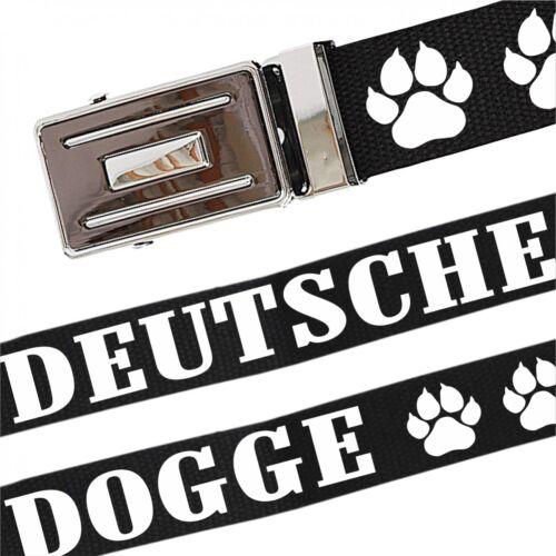 Gürtel mit Spruch Deutsche Dogge stufenlos verstellbar bis 140 cm Lang Rassehund